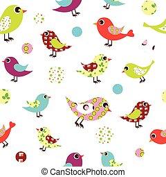 modello, uccelli, colorito, seamless