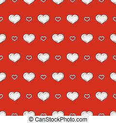 modello, valentines, seamless, fondo., vettore, cuori, bianco, giorno, rosso