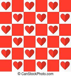 modello, valentines, seamless, vettore, cuori, giorno, rosso
