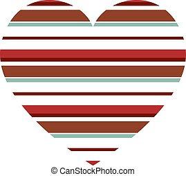 modello, vettore, cuore, strisce orizzontali