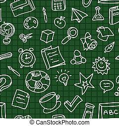 modello, vettore, educazione, seamless, icone