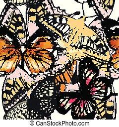 modello, vettore, moda, butterflies.eps