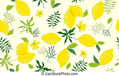 modello, vettore, seamless, lemon.