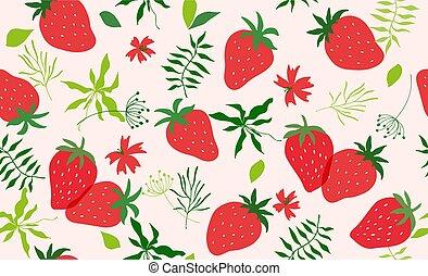 modello, vettore, seamless, strawberry.