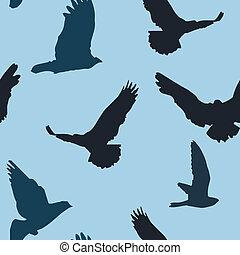 modello, vettore, uccelli, fondo, seamless