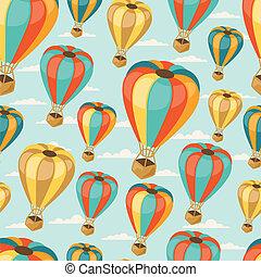 modello, viaggiare, balloons., seamless, retro