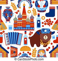 modello, viaggiare, russia, seamless