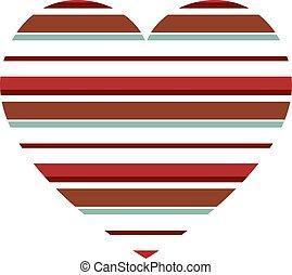 modello, zebrato, cuore, orizzontale, vettore