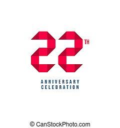 modelo, 22, vetorial, th, aniversário, desenho, ilustração, celebração