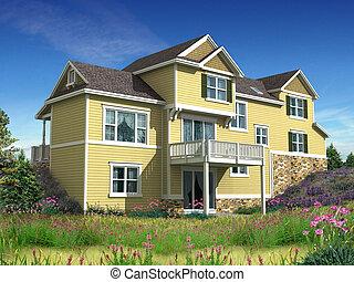 modelo, 3d, casa