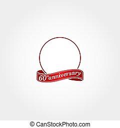 modelo, 60, year., etiquetado, número, sexagésimo, aniversário, círculo, aquilo, anniversary., 60th, logotipo