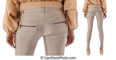 modelo, aislado, pantalones
