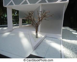 modelo, arquitetura, espaço
