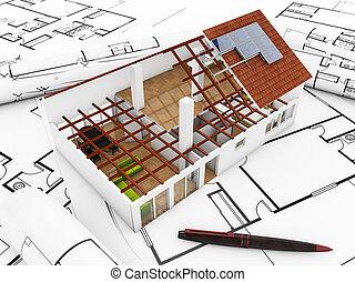 modelo, arquitetura, render, 3d