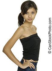 modelo, asiático, 14