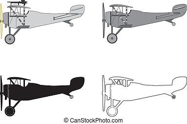 modelo, biplane., avión, retro