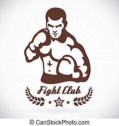 modelo, boxeador, ilustración, condición física