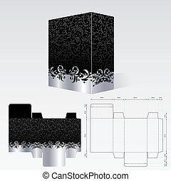 modelo, caixa papelão