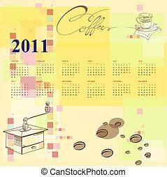 modelo, calendário, 2011
