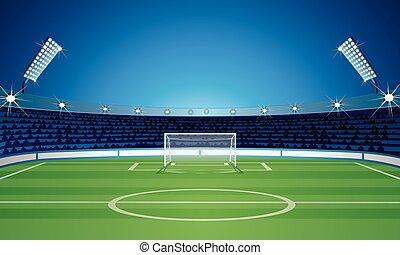 modelo, campo, vazio, estádio, futebol, fundo