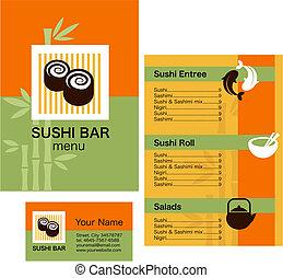 modelo, cartão negócio, sushi, menu