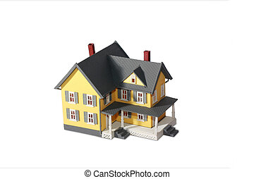 modelo, casa, aislado, blanco, plano de fondo