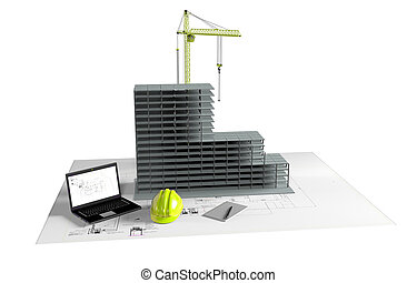 modelo, casa, bajo construcción, computadora, casco, 3d,...