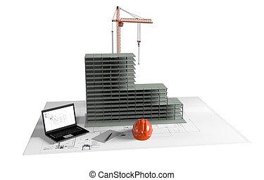 modelo, casa, bajo construcción, computadora, construcción,...