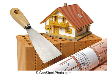 modelo, casa, e, ferramentas, ligado, tijolo