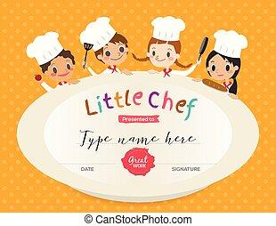 modelo, certificado, classe, desenho, cozinhar, crianças