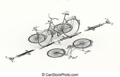 modelo, cima, bicicleta, plan, 3d