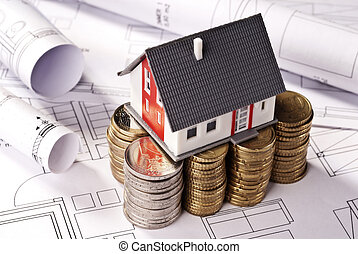 modelo, coins, pilas, arquitectónico