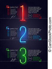 modelo, com, néon, luminoso, números