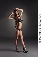 modelo, com, perfeitos, corporal, advertises, erótico, langerie