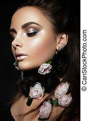 modelo, con, flores