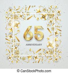 modelo, confetti, texto, celebração, 65th, ilustração, flyer., anniversary., fundo, 3d, criativo, dourado, números, fundo, frame., render, aniversário, luz