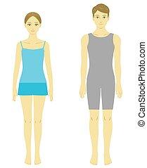 modelo, corpo mulher, homem