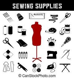 modelo, costurando, moda, materiais, cosendo