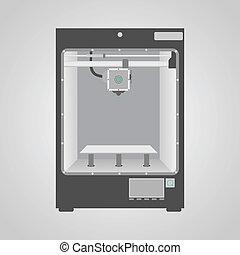 modelo, de, 3d, impressora