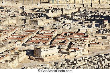 modelo, de, antiguo, jerusalén, enfocar, en, dos, palacios