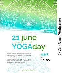 modelo, de, cartaz, para, ioga, day.