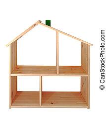 modelo, de, casa de madera, aislado, blanco, plano de fondo