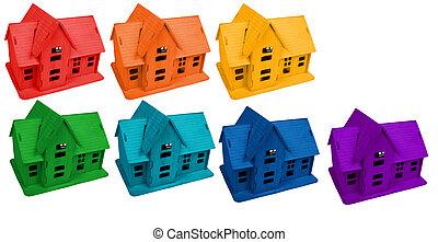 modelo, de, casas, en, colores, de, arco irirs, collage
