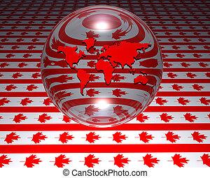 modelo, de, mapa mundial, com, bandeira canadense, em, fundo