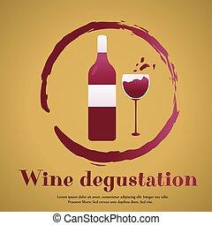 modelo, desenho, suitable, para, degustação vinho, convite, ou, partido