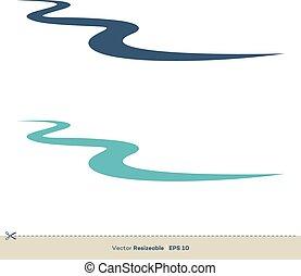 modelo, desenho, vetorial, linha, logotipo, riacho, ...