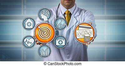 modelo, doutor, apresentando, value-based, cuidados de saúde