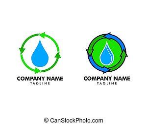 modelo, elemento, água, jogo, recicle logotipo, desenho