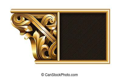 modelo, emblema, 3d, esculpido, boné, coluna, ouro