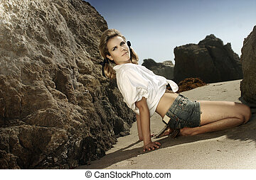 modelo, en, playa